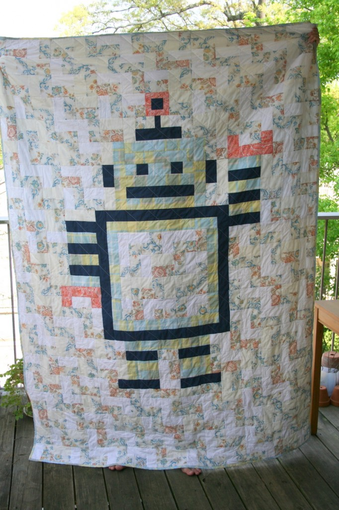 Robot quilt finished front