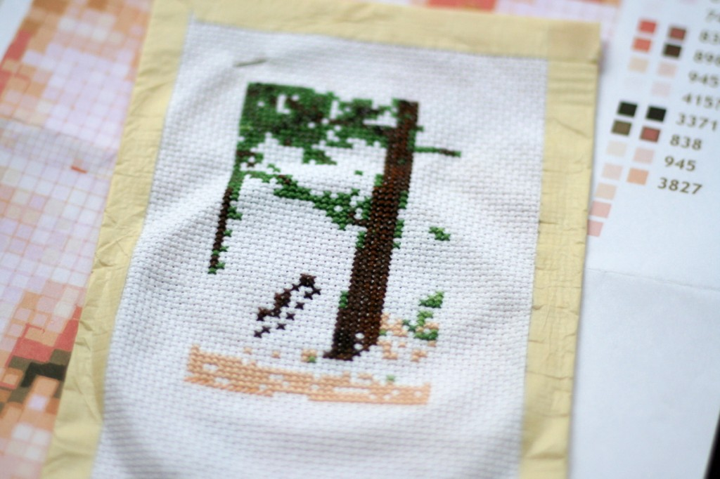 Elk cross-stitch in progress