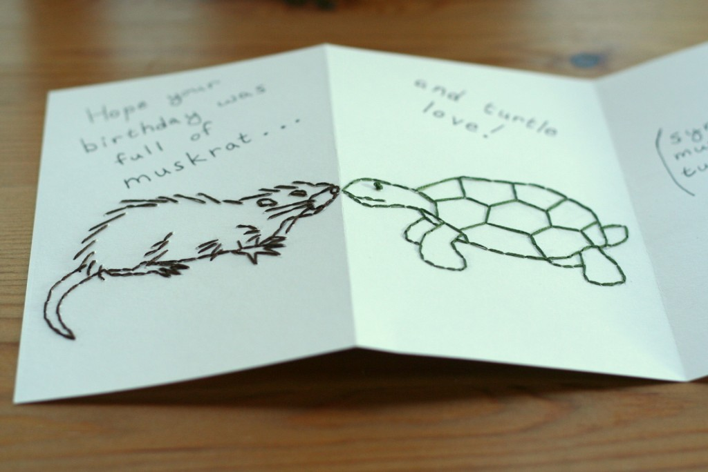 Embroidered Muskrat & Turtle