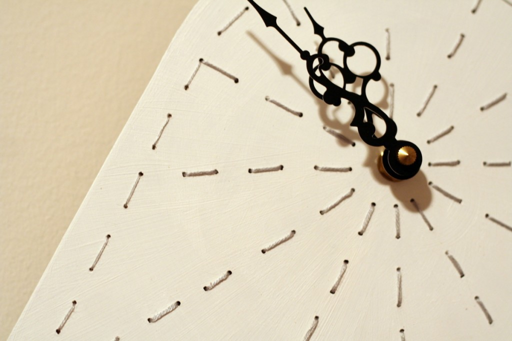 Stitched clock detail