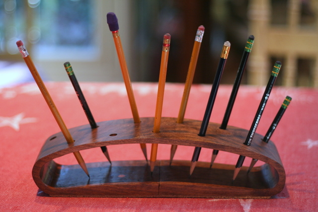 Handmade wooden pencil holder
