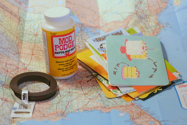 supplies to turn a map into magnets