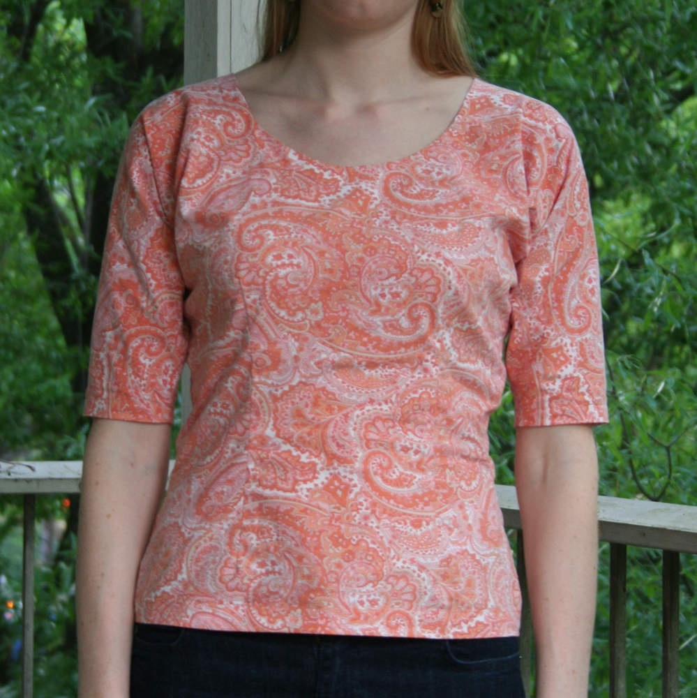 cotton dolman sleeve - orange paisley