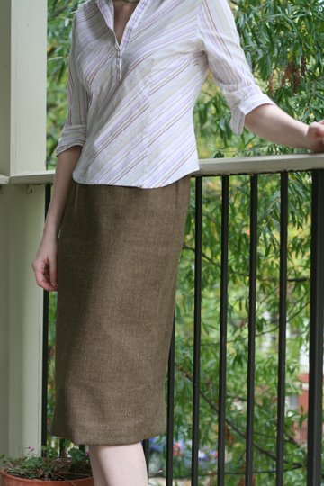 easy elastic waist fall wool skirt