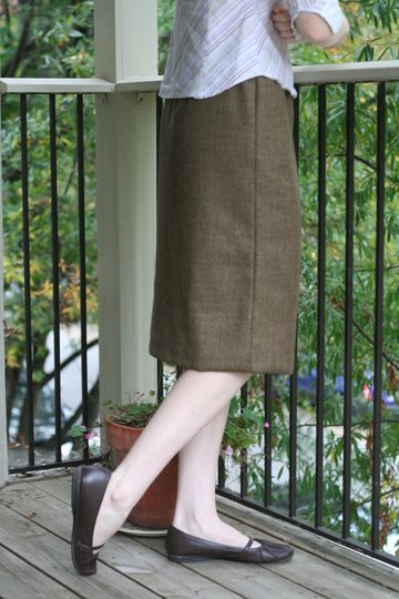 fall brown wool skirt