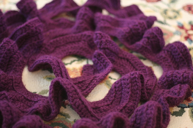 ruffled purple scarf, crochet